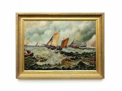 Antique Seascape Oil Painting Sailing Boats Painting Framed Nautical Art