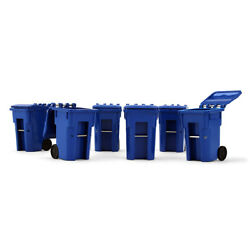 First Gear 134 Set Of 6 Blue Colored Trash Garbage Can Containers Bin Nib