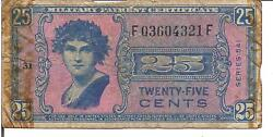 Us 25 Cents Military Payment Certificate Series 541pm38 Nd1958
