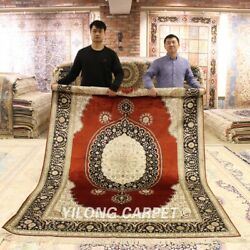 Yilong 6and039x9and039 Red Classic Carpet Handmade Antique Silk Flooring Area Rug Lh956b