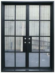 Bruceville Double Front Entry Wrought Iron Door Clear Glass 72