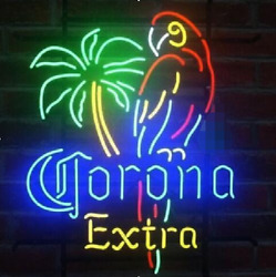 Neon Signs New Corona Extra Parrot Beer Bar Pub Store Room Wall Display 19x15