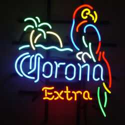 Neon Signs Corona Extra Parrot Palm Beer Bar Pub Store Room Wall Display 19x15