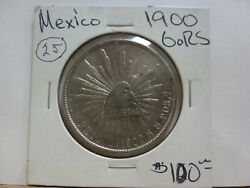 1900-go/rs Mexico 8 Reales Silver Coin 25