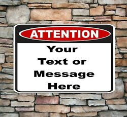Customized Attention Sign Aluminum Metal Personalized With Text 8 X 12 As1