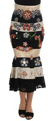NEW $12400 DOLCE & GABBANA Skirt Crystal Carretto Black Gold Lace IT38/ US4 / XS