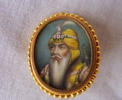 18k French Yellow Gold On Porcelain Painting Of Indian Noble Man Pendant