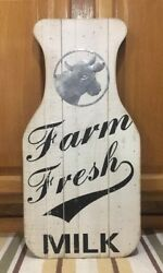 Farm Fresh Milk Wooden Sign Cow Kitchen Country Hay Feed Bottle Jug Vintage Look