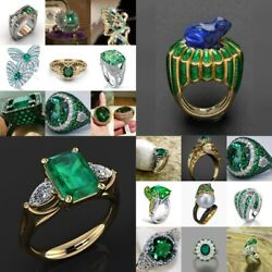 Emerald Green Gemstone 925 Silver Evening Party Ring Fashion Jewelry Size 6 10 $2.55