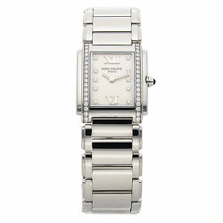 Patek Philippe Twenty-4 Quartz Steel Diamonds Ladies Bracelet Watch 491010A-011