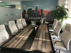 Industrial steel and reclaimed wood conference table wFREE power center - #064