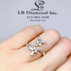 Butterfly Cocktail Ring Marquis And Round Brilliant Diamonds 1.08ct 18k White Gold