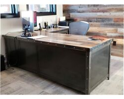 Industrial Office Desk & File Cabinet #066 • Industrial Style Furniture
