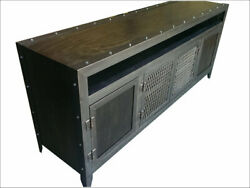 Industrial Media Console/credenza Andbull Component Niche Andbull Wood And Steel Andbull 003l