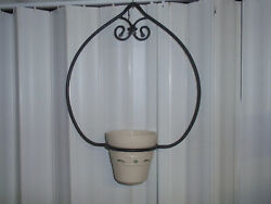 Longaberger Wrought Iron Plant Hanger And Lg Flower Pot, See Shipping Descript New