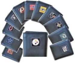 Nfl Tri-fold Leather Wallets Nice Gift Item In Gift Box  Fast Shipping