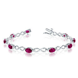 10K White Gold Oval Ruby Stones And Diamonds Infinity Tennis Bracelet 7