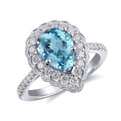 Natural Aquamarine 1.52 Carats Set In 14k White Gold Ring With Diamonds