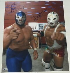 Blue Demon Jr And Dr Wagner Jr Signed 16x20 Photo Bas Beckett Coa Aaa Cmll Picture