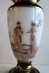 Czech/bohemian Double-layer Milk And Clear Glass Vase Pedestal Hand-painted 1940and039s