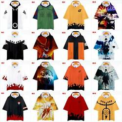 Anime NARUTO0 3D Printed Hoodie T-shirt MenWomen Casual Hooded Short Sleeve Tee