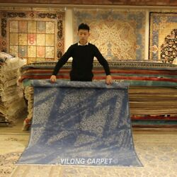 Yilong 5and039x7and039 Blue Handmade Wool Area Rug Living Room Hand Knotted Carpet C65s