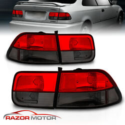 1996-2000 For Honda Civic 2dr Coupe Red Smoke Brake Tail Lights Pair