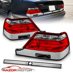 1995-1999 For Mercedes-benz W140 S-class Red Clear Tail Lights Pair