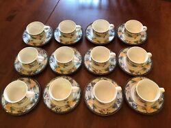 Mikasa Intaglio Garden Harvest Flat Set For 12 Tea Coffee Cup 8oz And Saucer Cac29
