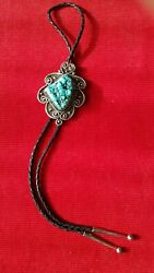 Vintage Signed Navajo Sterling Silver And Rare Turquoise Bolo Tie
