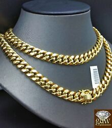 Men 10K Yellow Gold  Cuban Link Chain Necklace 11mm 20 Inch Box LockStrongREAL