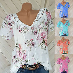 Women Summer Boho Short Sleeve Floral Shirt Blouse Tops Loose T Shirt Casual Tee