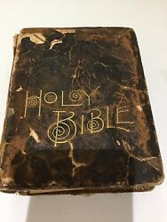 Antique Leather Bound Pictorial Family Bible Aj Holman And Co 1890