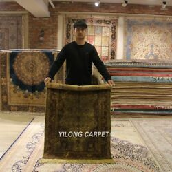 YILONG 3'x5' Antique Medallion Hand-knotted Silk Carpet 300Lines Area Rug YL22A