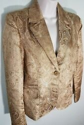 Womens Contact New York Gold Embossed Paisley Jacket Lined Sz M Long Sleeve EUC