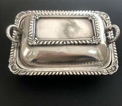 HEAVY Antique Vintage Sterling Silver Miniature COVERED DISH With Handles 205.2g
