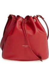 Authentic LONGCHAMP Paris RED Leather 2.0 Drawstring Bucket Crossbody Bag *RARE*