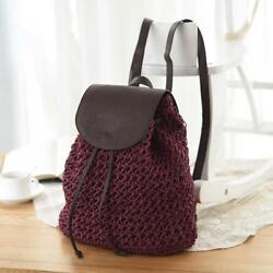Women Bag Backpack Hollow Out Woven Drawstring Bag Small Summer Beach Backpack $31.40