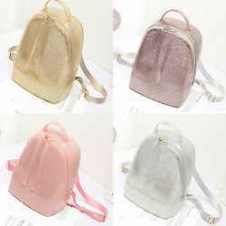 Women Backpack Jelly Glitter Backpack Candy Color Bag Sequins Silicone Shiny Bag $73.59
