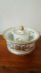 Antique French Porcelain Circular Inkwell, C. 1929