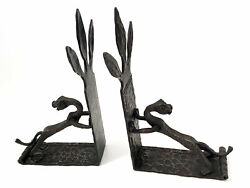 Antique Arts And Crafts Hand Forged Wrought Iron Gothic Dragon Griffin Bookends