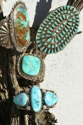 Massive Turquoise Sterling Silver Cuff Cluster Bracelet Rare