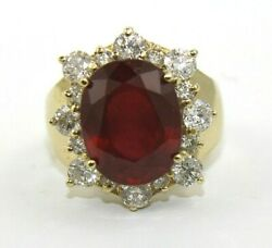 Oval Red Ruby And Diamond Halo Solitaire Ring 14k Yellow Gold 9.23ct