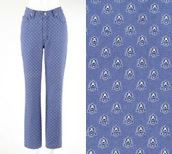 Les Olivades Blue And White Provencal Pattern Straight Cut Pants Jeans Size 36