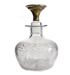 The Mcchesney Co. 14k Yellow Gold And Etched Glass Perfume Bottle Circa 1925