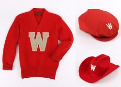 Vtg Wisconsin Badgers C.1940and039s Football Sweater Cowboy Newsboy Hat 3 Pc Set