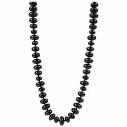 C.1940's Black Onxy Rondelle Beaded Long Lucite Necklace