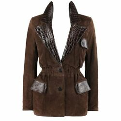 Valentino Couture C.1980s Brown Crocodile Suede And Leather Cinched Waist Jacket