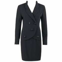 Boutique C.1980's Black Wool Crepe Double Breasted One Piece Dress Suit