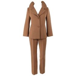 Dolce And Gabbana C.1990's 2 Pc Tan Wool Two Button Jacket Cropped Pant Suit Set